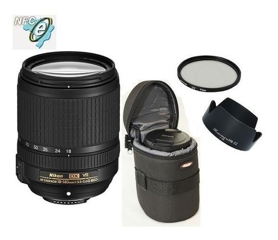 Lente Nikon 18-140mm Af-s Dx Vr + Uv 67mm + Bolsa + Parasol Nota Fiscal