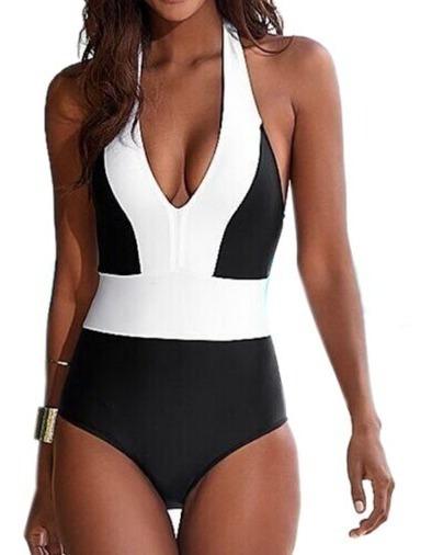 Traje De Baño Completo Halter Mujer Bikini Monokini Envíog!