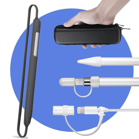 Kit Capa Case Tampa E Cordão Silicone Apple Pencil iPad Pro