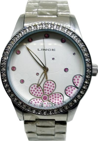 Relógio Lince Feminino Branco Com Pedras