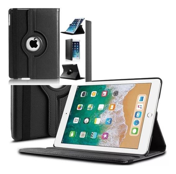 Capa iPad 6 2018 Apple 9.7 A1893 A1954 Couro Giratória Preta