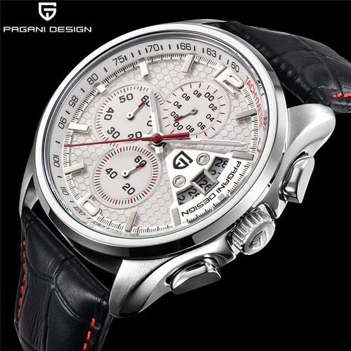Relógio Pagani Design Branco E Vermelho Pulseira Couro Preto