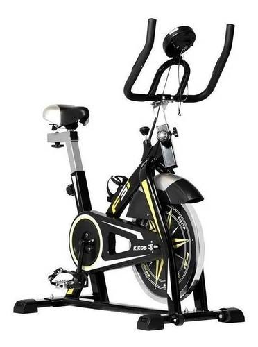 Bicicleta ergométrica spinning Kikos F3i preta e amarela