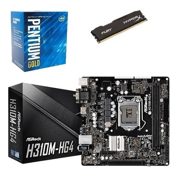 Kit Intel 8ª G. Pentium G5400 + Mb H310m Hg4 + Hx 8gb 2400