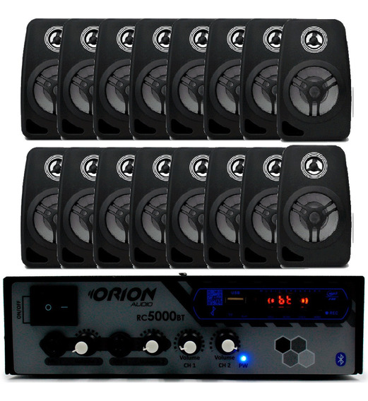 Kit Som Ambiente 300w Bluetooth Fm+16 Caixas Acústicas