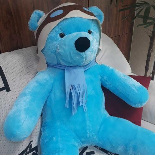 Imagem 1 de 10 de Urso De Pelúcia Gigante Azul 130cm Tema Aviador Frete Grátis