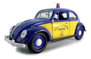 Miniatura Fusca Policia Rodoviaria Federal Prf Metal E 1 24