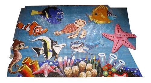 Imagen 1 de 12 de Mosaico Figura Nemo Y Amigos Con Sombra De .50 Cms. Para Alberca