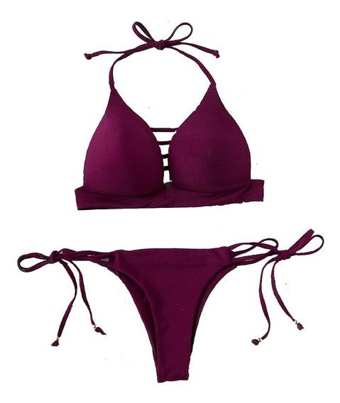 Traje De Baño Sexy Bikini Y Top Halter Morado De Lazo