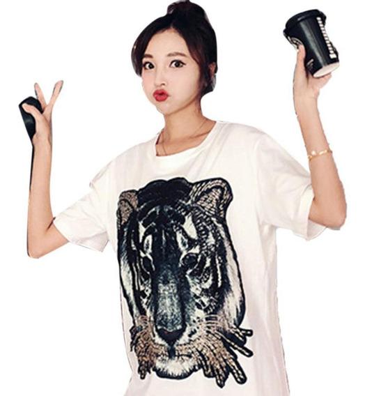 Camiseta Feminina Casual O-neck Manga Curta Com Estampa Anim