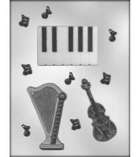 Cuerda Trío Chocolate Dulce Molde Música Teclas Notas Piano