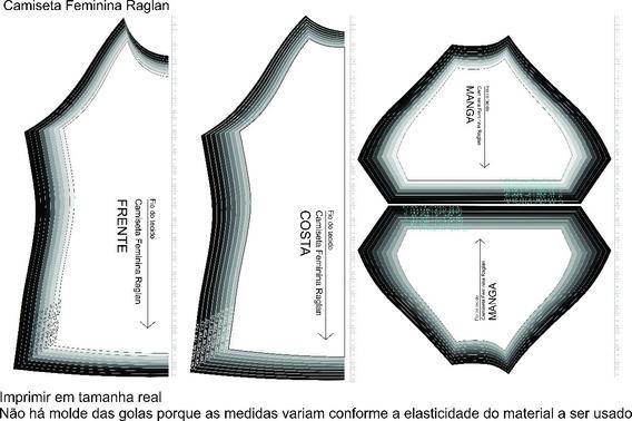 Molde Raglan Pacote 5 Modelagens - Masculino Feminino Infant