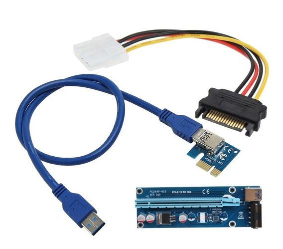 Adaptador Riser Card Pci Express 6pin Usb 3.0 60cm