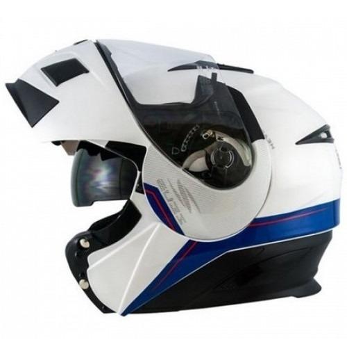 Capacete Zeus 3020 Solid White/blue Escamoteável M