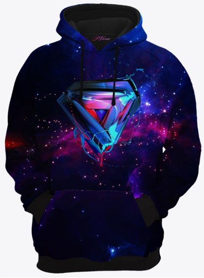 Moletom Com Capuz Liga Da Justiça Super Man Galaxia