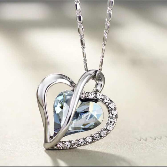 Corrente Colar Prata 925 Feminino Pingente Coração Zircônia