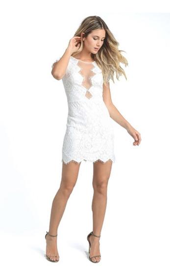 Vestido Color Blanco Elegante Tipo Tejido Para Dama