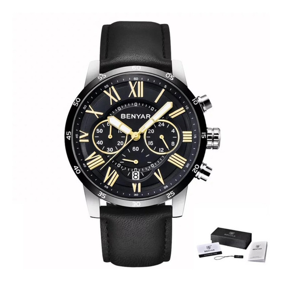 Relógio Masculino Benyar 5139 Original Preto Couro Legitimo