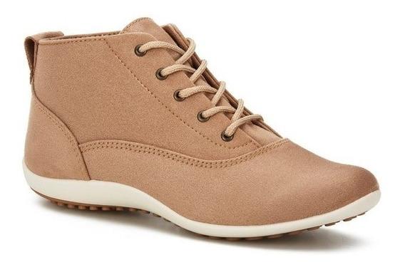 Botines Zapatos De Piso Para Dama Andrea Beige Con Agujetas