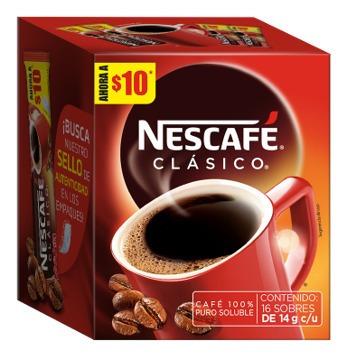 Nescafe Clasico Stick Mp Con 16 Sobres De 14gr