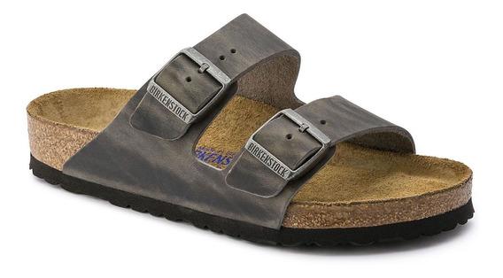Birkenstock Sandália Arizona Couro Natural Soft Footbed Regular Ferro 12x Sem Juros