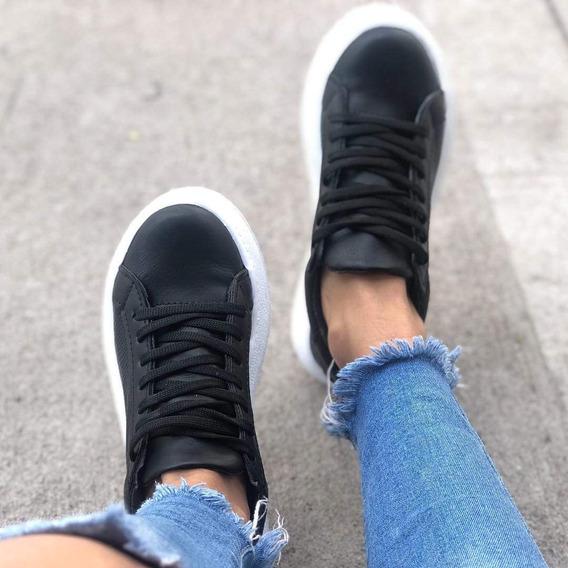 Zapatillas Mujer Urbanas Negras Plataforma Sneakers