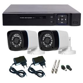 Kit Segurança Casa E Comercio 2 Câmeras Infra + Dvr 4 Canais