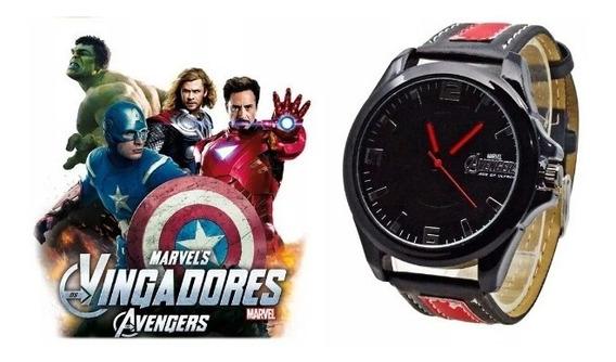 Relógio Avengers Os Vingadores Marvel Pulseira Couro Barato