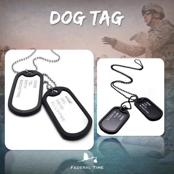 Dog Tag Militar 2 Placas Identificação Exercito Original Aço