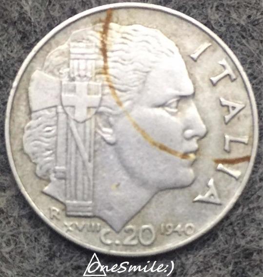 Inés Mile:) Moneda Italiana 20 Centésimo 1940 R Xvlll