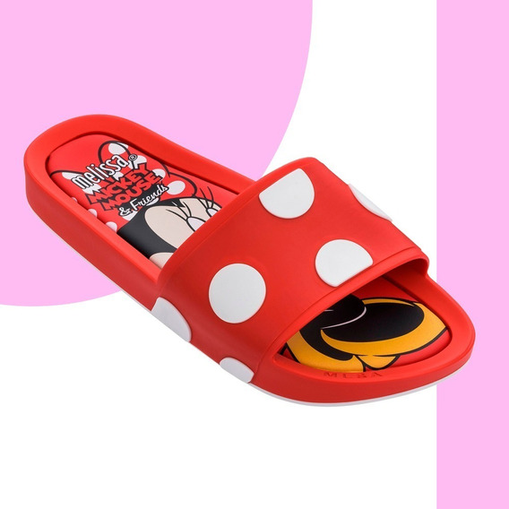 Melissa Mel Beach Slide + Mickey And Friends Ii Rosa Branco Vermelho Original + Nf