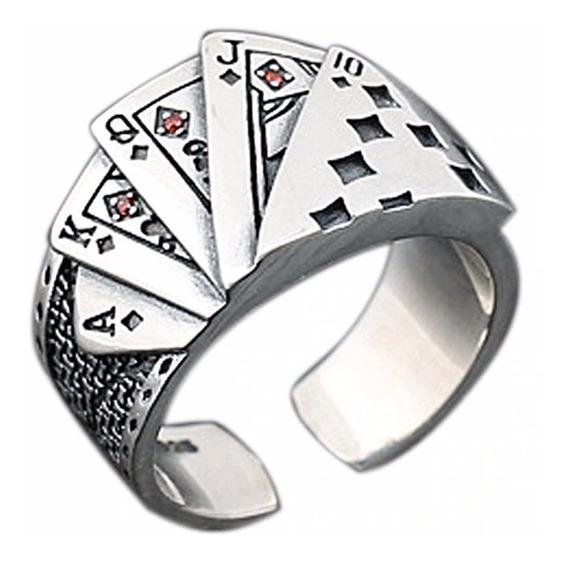 Anel Cartas Poker Vegas Vintage Ajustável Aço 316l Garantia