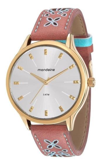 Relógio Mondaine Feminino Dourado Couro 76610lpmvdh1