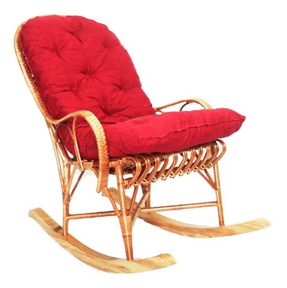 Cadeira De Balanço Papai Em Vime Com Almofada Ideal Para Relaxar E Descançar Muito Confortável