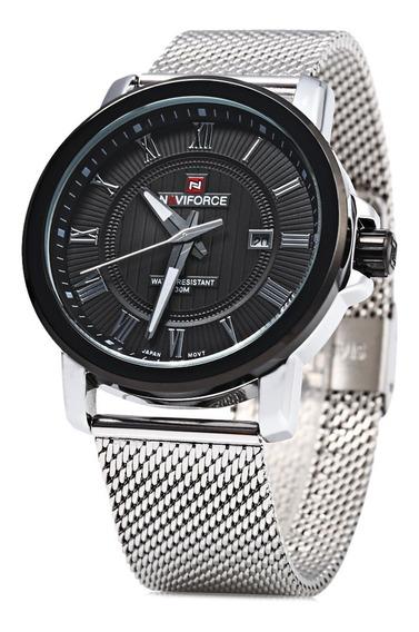 Relógio Luminoso Naviforce Luxo 9052 Pulseira Aço Inoxidável