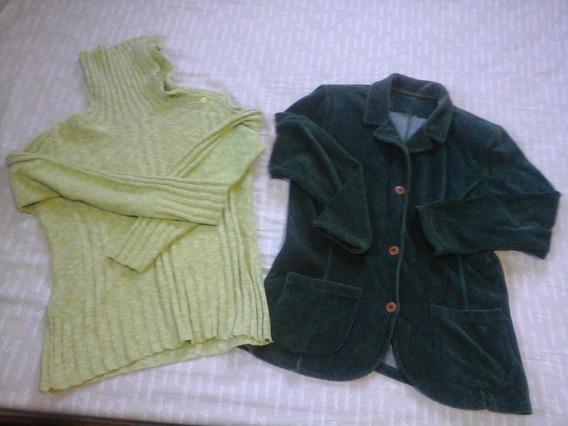 Kit 3 Blusas Lã E 2 Jaquetas Veludo Feminino M Inverno