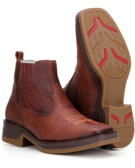 Botina Masculina Texana Country Bico Quadrado Couro Capelli