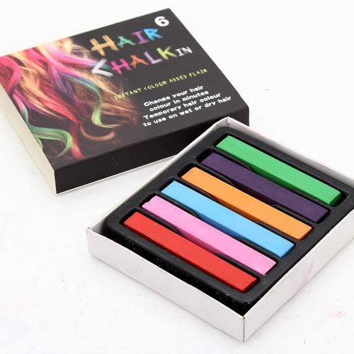 Tizas De 6 Colores Para Teñir Pintar Pelo Hair Chalk
