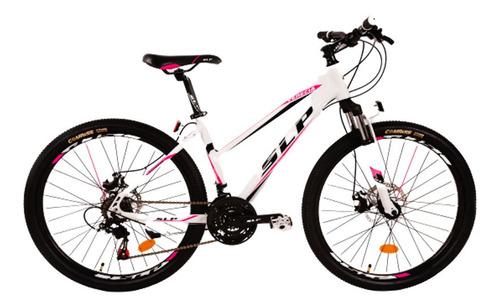 Imagen 1 de 1 de Mountain bike SLP Venecia R26 21v frenos de disco mecánico cambios Shimano Tourney TZ500 color blanco con pie de apoyo