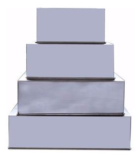Conjunto Formas Quadradas 4 Peças Alumínio-10cm Alt P/ Bolo