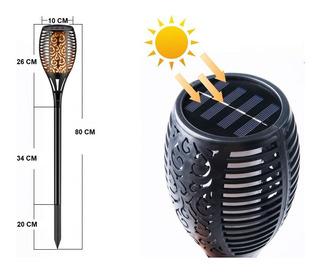 Estaca Solar Jardin 80 Cm Simil Fuego Farol Recargable Deco