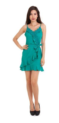 Vestido Crepe Babadinho Verde Kinara