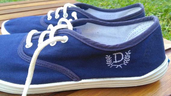 Zapatillas Lona Azul Cordón Verano Mujer 39 Deli