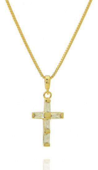 Colar Crucifixo Pequeno Zircônia Baguete Semi Joia Dourado