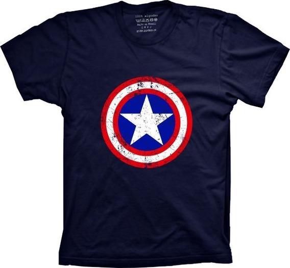 Camiseta Capitão América 100% Algodão Estilizada Cores