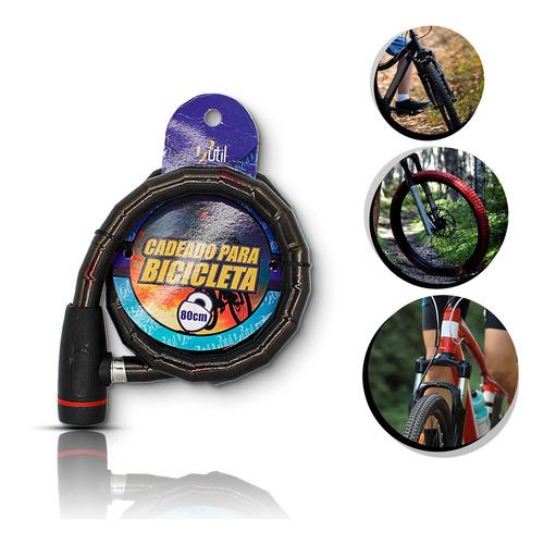 Cadeado Para Bicicleta 80cm*18mm Cor:preto