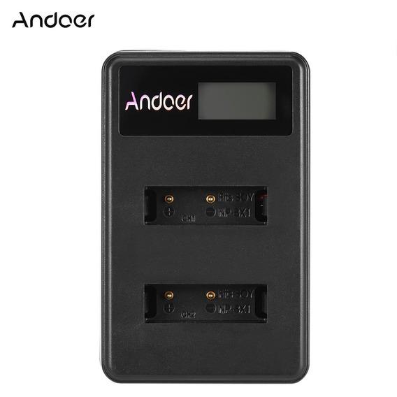Andoer Mini Portátil Dual Slot Lcd Tela Usb Carregador Para