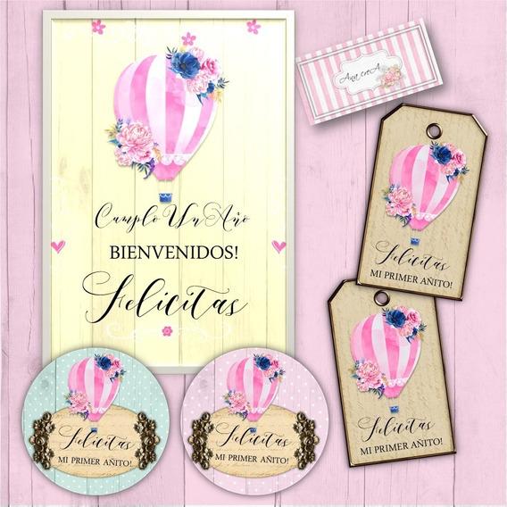 Kit Personalizado Globo Aerostático Shabby Chic- Imprimible