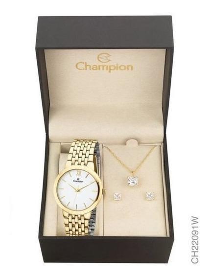 Kit Relógio Champion Dourado Feminino Ch22091w Com Semi Joia