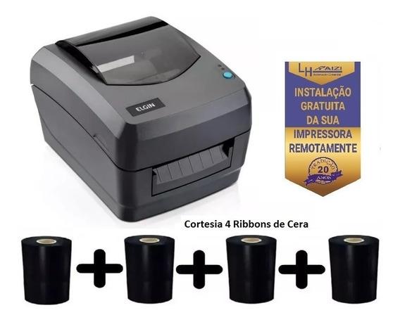 Impressora De Etiquetas Elgin L42 Usb + 4 Ribbon De 74x110